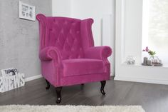 Ohrensessel LOYD Samt Hotpink 105cm Höhe, Ein weltberühmter Designklassiker im CHESTERFIELD-Look Chesterfield, Wingback Chair, Armchair, Studio Apartment Decorating, Lounge, Couch, Designer, Accent Chairs, Pink