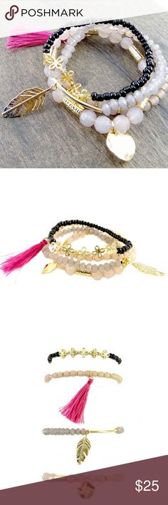 "Carina Stretch Bead Bracelet with Tassel Perfect for everyday styling and layering this 4 row tassel bracelet is sure to give your ensemble the color and spunk it wants!      Diameter: 2 1/4"" Classic Paper Doll Jewelry Bracelets"