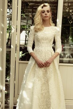 Isla - Chana Marelus modest 3/4 sleeve wedding gown with floral embroidery