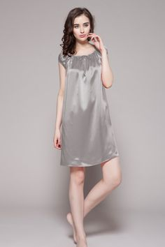 22 Momme Mid length Silk Nightgown with Tied Bust 6e7e73912