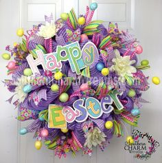 Deco Mesh EASTER Spring Wreath Happy Easter Sign Lavender Eggs by www.southerncharmwreaths.com #decomesh #wreath #Easter