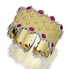 18 KARAT GOLD, RUBY AND DIAMOND BANGLE-BRACELET, BUCCELLATI