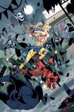 Deadpool and Harley Quinn by Vasco Georgiev Dc Comics Vs Marvel, Dc Comics Art, Dc Comics Characters, Marvel Heroes, Harley Quinn Drawing, Joker And Harley Quinn, Marvel And Dc Crossover, Cartoon Crossovers, Comic Books Art