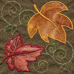 - Applique Leaf Quilt Square - Threads of Time Embroidery Machine Applique, Machine Embroidery Patterns, Applique Patterns, Applique Quilts, Embroidery Applique, Fall Applique Designs, Applique Ideas, Fall Quilts, Creeper Minecraft