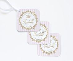 Arte digital para tags de agradecimento personalizados para festa Coroa de Princesa