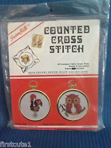 Vintage Susan Bates Counted Cross Stitch Ornaments Kit OWL & ROOSTER  w/ Frames