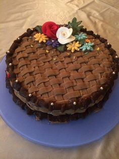 The classic Basket Weave! Coffee cake with Hazelnut Chocolate Ganache filling and coffee Buttercream