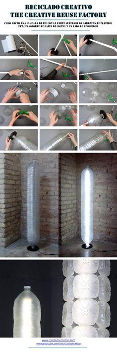 Cómo realizar una lámpara de pie con los cuellos de garrafas de plástico