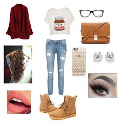 """""""Casual winter date outfit"""" by soccer690 on Polyvore featuring Current/Elliott, Forever 21, Ray-Ban, Casetify and Fiebiger"""