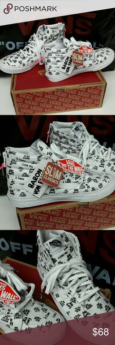 VANS SK8Hi Slim Zip BaronVonFancy White Blk Brand New with Tags and Box! Vans size 9 womens (mens 7.5). Zipper with hot pink tie!!  (Some words on shoes: Ti Amo, I Love You, Had To Have You, je taime, And the rest is history, so fancy) ... Ask me anything! Vans Shoes