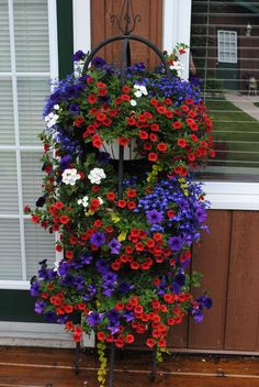 48 Favourite Small Yard Landscaping & Flower Garden Design When it comes to the back garden, bigger is not always better. Small spaces outside the room can be just as fun for entertaining in the spring as well as … Hanging Flower Baskets, Flower Planters, Hanging Plants, Flower Pots, Flower Ideas, Container Flowers, Container Plants, Container Gardening, Evergreen Container