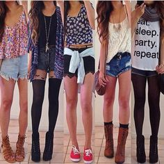 All of these outfits are cute! Teen fashion.