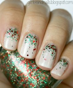 Red and Green Glitter Christmas Nails |
