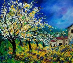 Pol Ledent artwork Spring in Boiseilles for sale and offering more original artworks in Textile medium and Landscape theme. Contemporary artist website Contemporary Painter, Artist from HOUYET Belgium. Oil Painting On Canvas, Painting Frames, Painting Prints, Canvas Art, Landscape Art, Landscape Paintings, Landscapes, Impressionism Art, Original Paintings