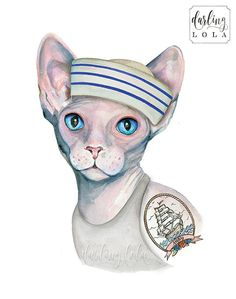 Cat Watercolor Print Tattoo Cat Cat Art by DarlingLolaDesigns