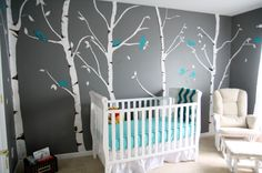 This grey wall is cool with the trees.