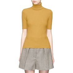 3.1 Phillip Lim Wool blend rib knit turtleneck sweater (4.768.200 IDR) ❤ liked on Polyvore featuring tops, sweaters, yellow, brown sweater, striped sweaters, sport sweaters, short sleeve turtleneck and short sleeve sweater