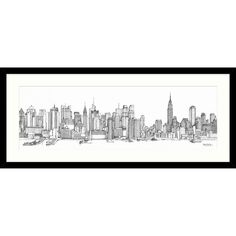 Catherine Stephenson - New York Sketch Framed Print, 104 x 49cm at John Lewis