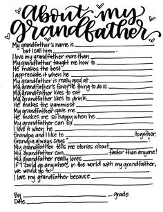 Father's Day Activity About My Grandfather Printable Kid | Etsy Father's Day Activities, Grandparents Day Activities, Primary Activities, Holiday Activities, Writing Activities, Grandchildren, Grandkids, Granddaughters, Family Genealogy