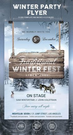 Winter Party Flyer Template PSD #design #promote Download: http://graphicriver.net/item/winter-party-flyer/13280801?ref=ksioks