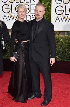 Robin Wright The 48-year-old actress, who was nominated for Best Actress in a TV Series, Drama, showed a bit of midriff in a black Ralph Lauren crop top and skirt combination - Golden Globes Best Dressed 2015: See All The Stars Who Stole The Show