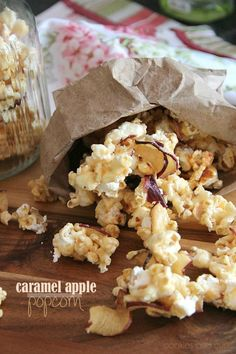Caramel Apple Popcorn   via Cookies and Cups