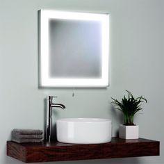 contemporary square lighted bathroom mirror idea and beautiful round sink plus vanity top faucet design | Stunning Bathroom Mirrors | https://www.designoursign.com #bathroom  #luxurybathroom #luxurybathroomideas #luxuryfurniture #interiordesign #luxurydesign #homedecor #designdetails