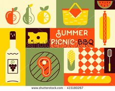 Picnic card in trendy vintage colors. Flat style vector illustration. Barbecue party invitation. BBQ cookout poster design with grill meat, fork, corn and sample text. Food flyer. Picnic ideas.