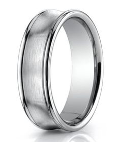 Concave Center Designer 18K White Gold Men's Wedding Ring | 7.5mm