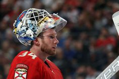 SUNRISE, FL - MARCH 14: Goaltender James Reimer #34 of the Florida Panthers skates back to the net after a break in the act against the Toronto Maple Leafs at the BB&T Center on March 14, 2017 in Sunrise, Florida. (Photo by Eliot J. Schechter/NHLI via Getty Images)