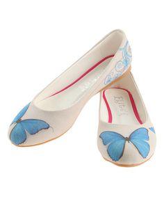 Another great find on #zulily! Ivory & Blue Butterflies Ballerina Flat #zulilyfinds