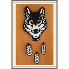 Wolf dreamcatcher hama beads by gittejulie … Perler Bead Designs, Hama Beads Design, Pearler Bead Patterns, Perler Patterns, Quilt Patterns, Perler Beads, Fuse Beads, Hama Perler, Iron Beads