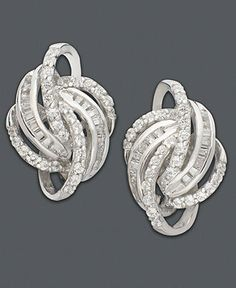 Wred In Love Knot Diamond Earrings 14k White Gold 1 2 Ct T W Jewelry Watches Macy S