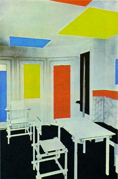 Theo van Doesburg et Gerrit Rietveld, Intérieur de la maison de Bart De Ligt (1919)
