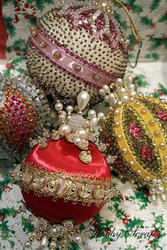 Vintage beaded ornaments! Reminds me of my grandma. Love these