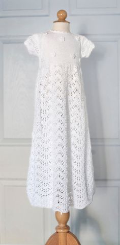 Christening Gown Hand Knit in white organic cotton by Renattoni, $145.00