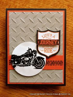 Masculine card. I love the tire tracks. One Wild Ride stamps