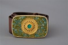 Gold Medallion With Mix of Peridot and Apatite by swankybelts, $185.00