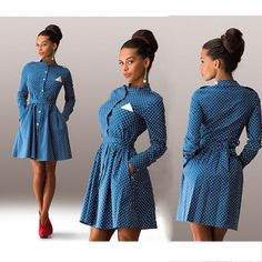 Dot decoration sleeved dress