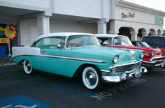 1956 Chevrolet Bel Air Sport Coupe - white over turqouise