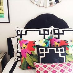 Love the pillow combination. One Room Challenge Week Three: Nursery Makeover- The Glam Pad Preppy Bedroom, Home Bedroom, Girls Bedroom, Bedroom Decor, Master Bedroom, Girl Room, Chinoiserie Chic, Guest Bedrooms, Guest Room