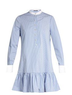 Click here to buy Alexander McQueen Mandarin-collar cotton-poplin shirtdress at MATCHESFASHION.COM