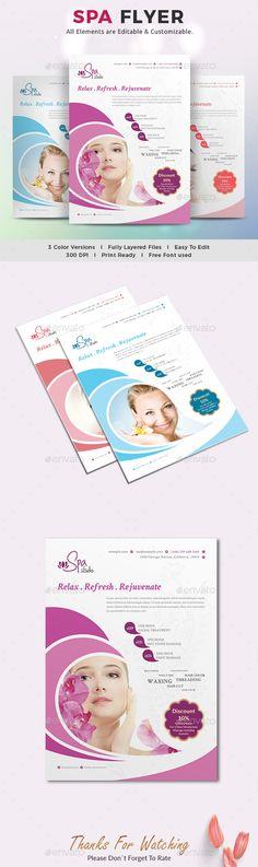 Spa flyer care, clinic, flyer t Budget Template, Flyer Template, Beauty Spa, Beauty Care, Business Flyer, Business Company, Spa Center, Salon Design, Design Art