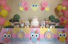 Owl Parties, Owl Birthday Parties, Birthday Ideas, Baby Shower Table Decorations, Baby Decor, Baby Shower Treats, Baby Shower Gifts, Baby Girl First Birthday, Baby Party