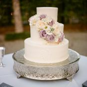 Cream and Lavender Wedding Cake