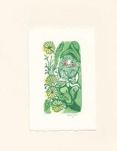 LaurajeanLaurajean: Garden Gnome Linoprint