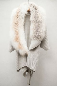 Fox Fur Trim Chalk Cardigan