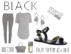 Sandalo flat borchiato in #pelle, coni borchie in 3 colori, chiusura con fibbia #oro regolabile, suola in gomma. #Rock di #primavera! http://bit.ly/1Gy7yxw #look #outfit #black #newcollection #shoppingonline