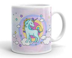 Unicorn Mug, Unicorn Gift Mug, Unicorn Lover Mug, Unicorn Large Mug, Girls Unicorn Mug, Girl Room Decor, Blue & Gold Unicorn on Purple Mug by UnicornGiftsFor on Etsy Blue Gold, Purple, Unicorn Gifts, Gifts In A Mug, Girl Room, Unicorns, Room Decor, Ceramics, Mugs