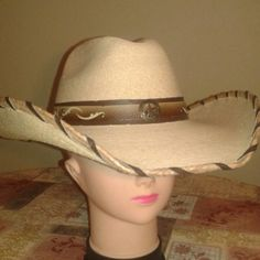 BULLHIDE Palm leaf  COWBOY HAT Palm leaf Cowboy Hat , beautiful brown hat band with   brushed gold star concho, brown raw hide stitching on brim and soft fabric sweatband. Bullhide RunAMuck Collection Accessories Hats